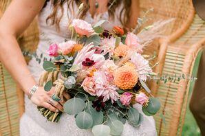 Pink Bohemian Bouquet with Dahlias, Lisianthus and Eucalyptus