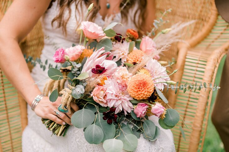 Pink Bohemian Bouquet with Dahlias, Lisianthus and Eucalyptus