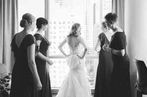 Bridesmaids and Bride Getting Ready in Peplum Wedding Dress and Down Hairstyle