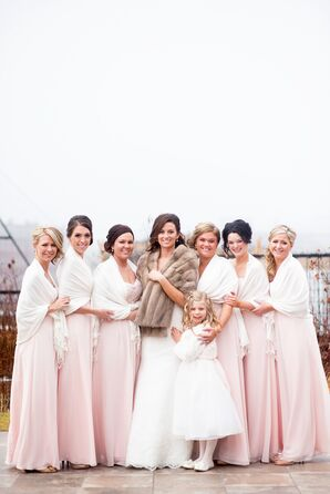 Blush Floor-Length Bridesmaid Dresses