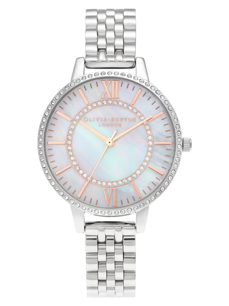 silver mother-of-pearl watch 30th anniversary gift