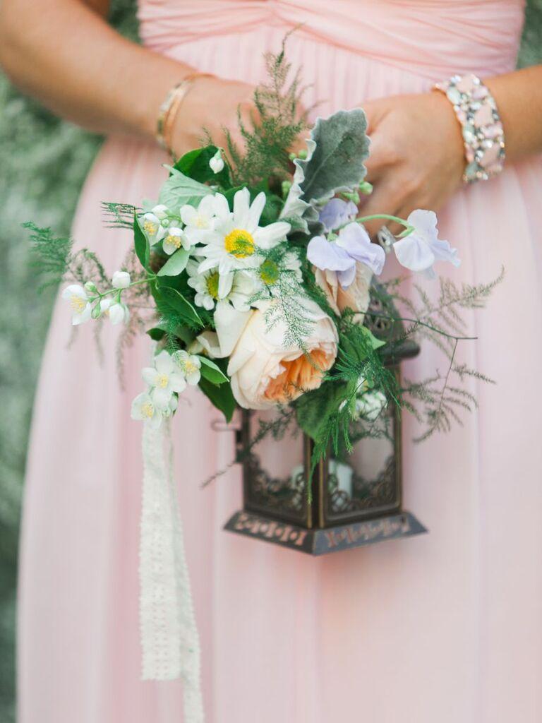 flowers and lanter bridesmaid bouquet idea