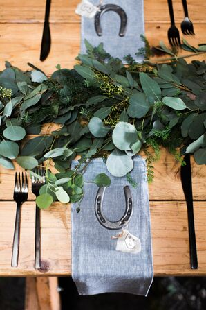 Simple Eucalyptus Centerpiece Garland, Horseshoe Favors
