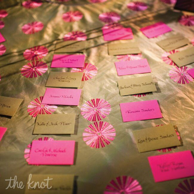 The excort cards were small green and pink note cards in envelopes to keep with the color theme.
