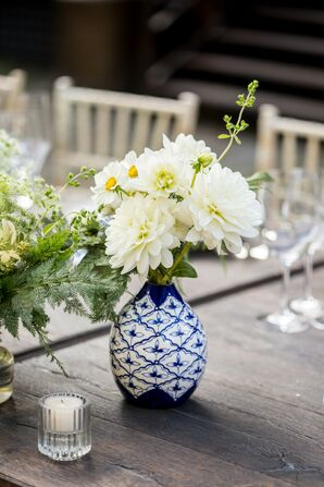 Blue-and-White Vase with Monochromatic Flowers