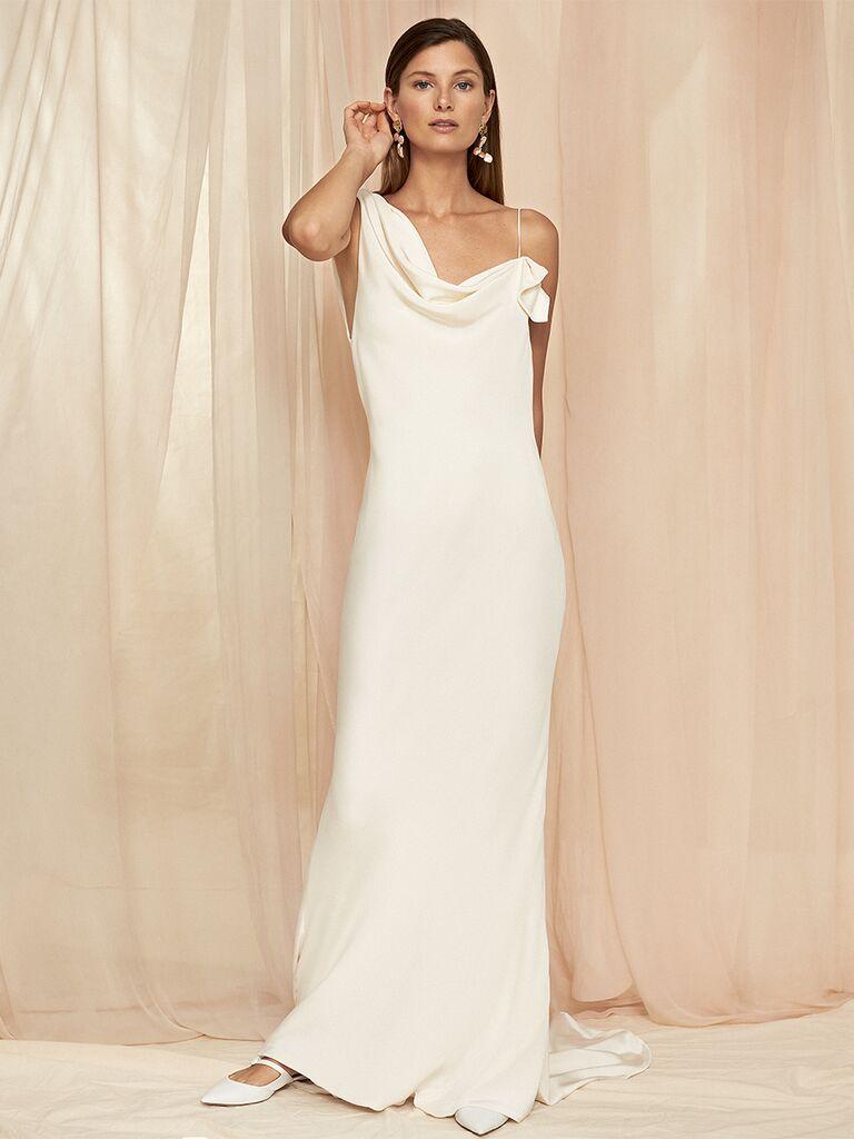 Asymmetrical Slip Wedding Dress