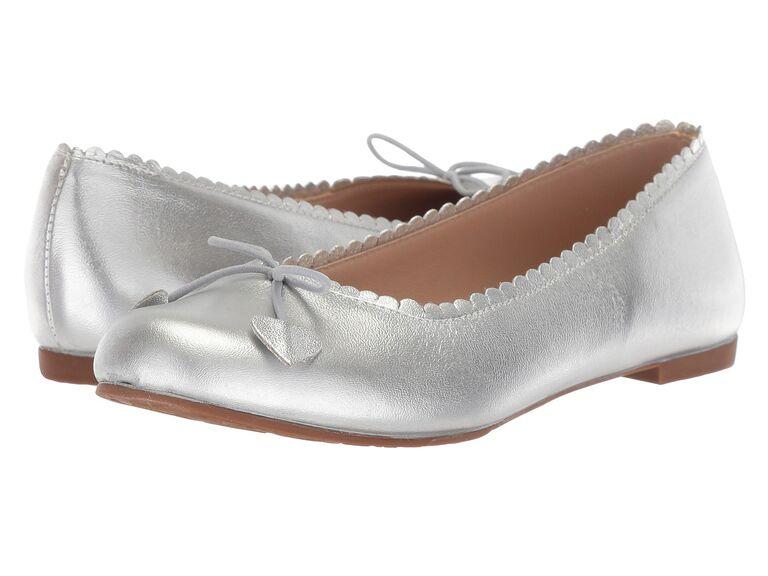 Silver ballet flower girl shoes