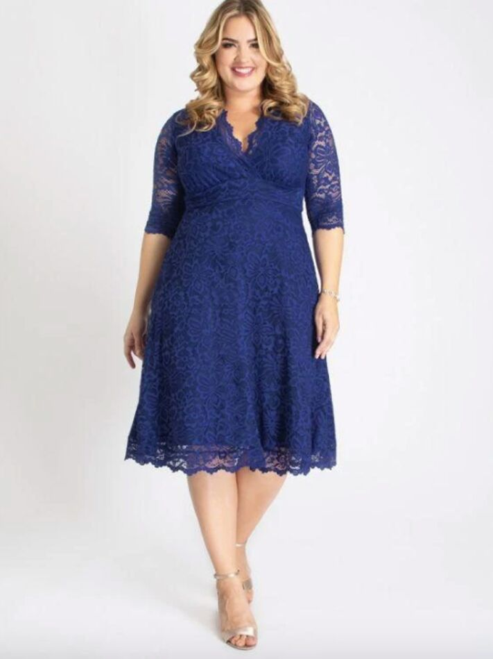 Sapphire blue lace midi dress with long sleeves
