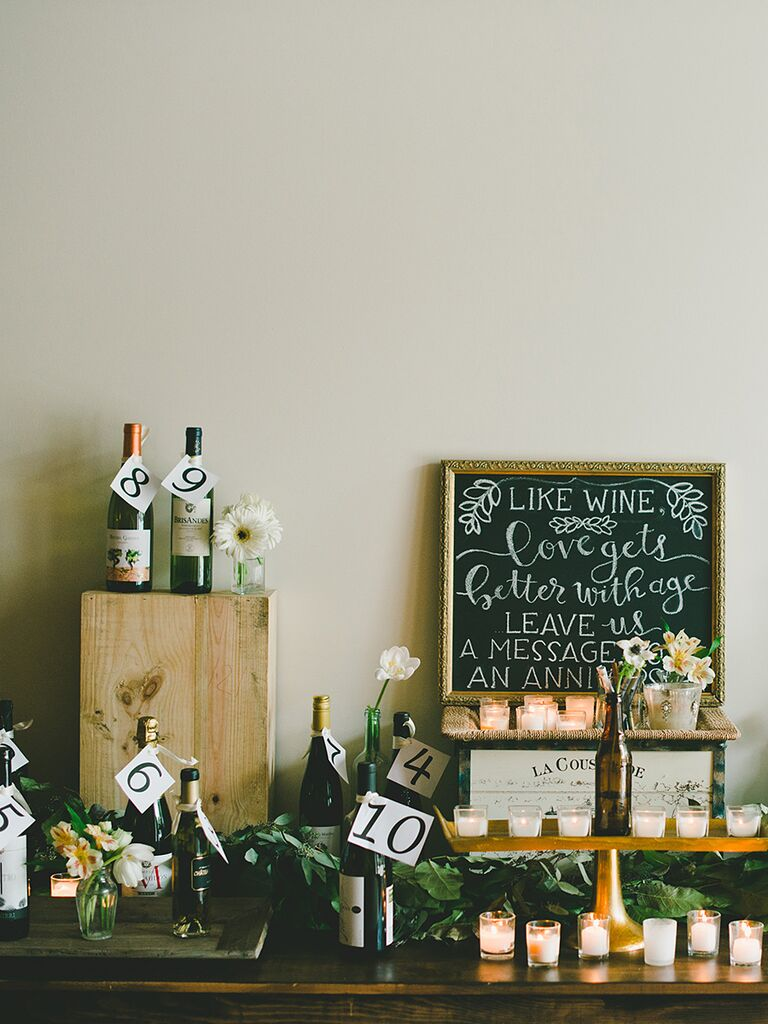 Glam guest advice with anniversary wine idea with wooden crates