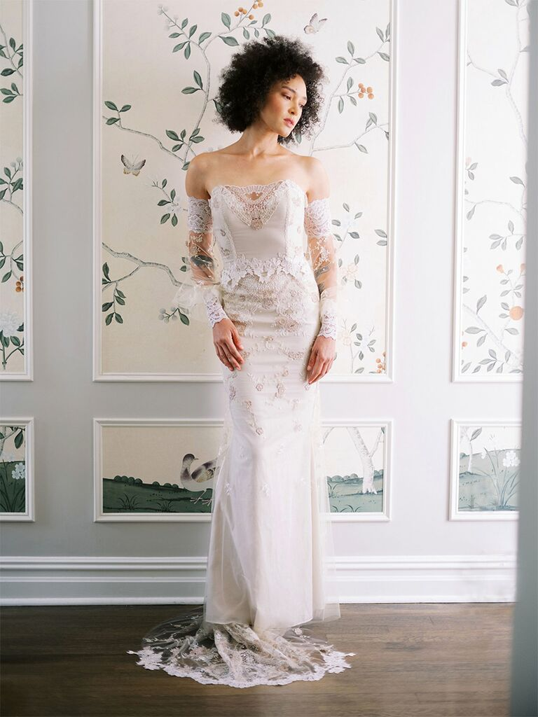 claire pettibone wedding dress off-the-shoulder long-sleeve dress