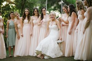 Blush, Floor-Length Bridesmaid Dresses