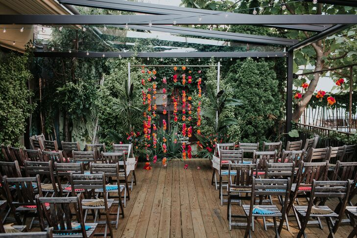 Modern, Tropical-Inspired Ceremony Site at MyMoon in Brooklyn