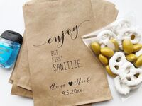 Custom paper bag with hand sanitizer wedding favor