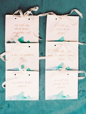Watercolor Place Cards with Ribbon