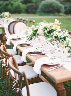 Open-Air Reception Tablescapes with Overflowing Peony Centerpieces