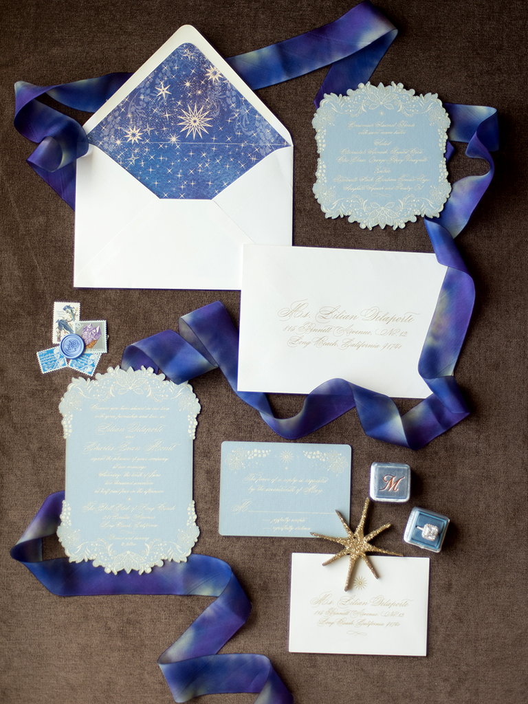 Starry Night themed wedding invitations by Jasmin Michelle Designs