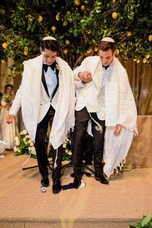 Grooms Breaking Glass for Traditional Jewish Ceremony