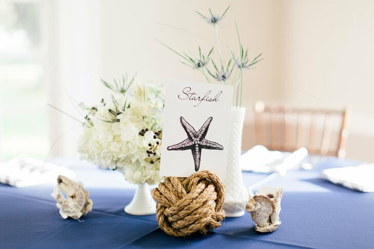 The tables were named for sea creatures and the card were placed in Monkey's Fist knots. Small clam shell votives, made by the bride's mother, were a fun accent to the tablescapes.