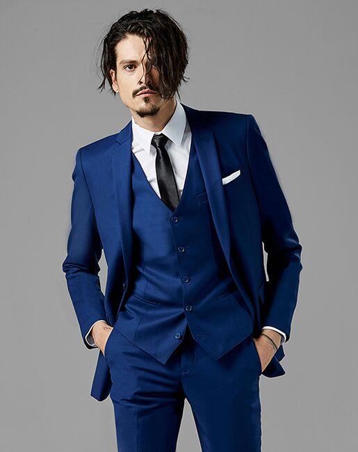 848a2e0cdd3f Generation Tux Bright Blue Notch Lapel Suit Wedding Tuxedo | The Knot