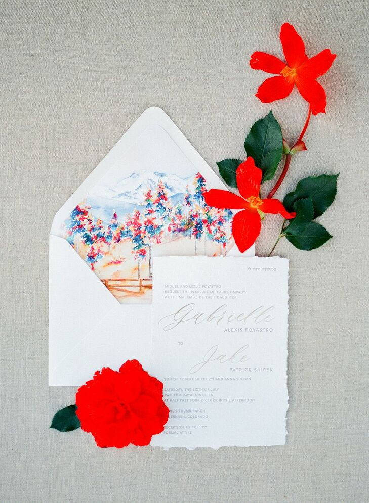 Wedding Invitation with Colorful Envelope Liner