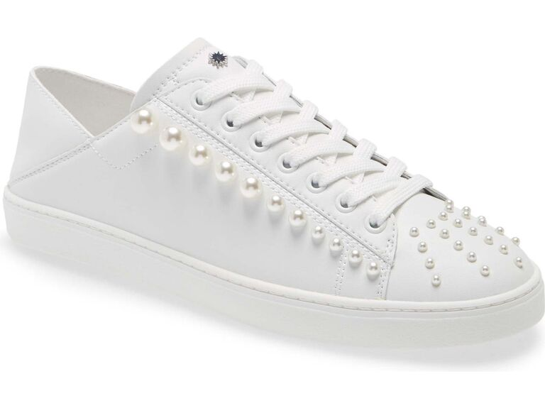 White bridal tennis shoes with pearl beading
