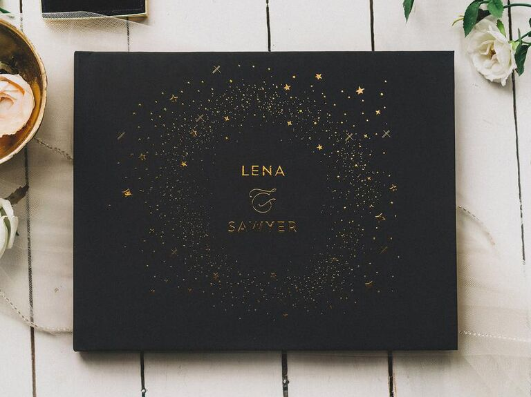 Black and gold star-inspired wedding shower guest book