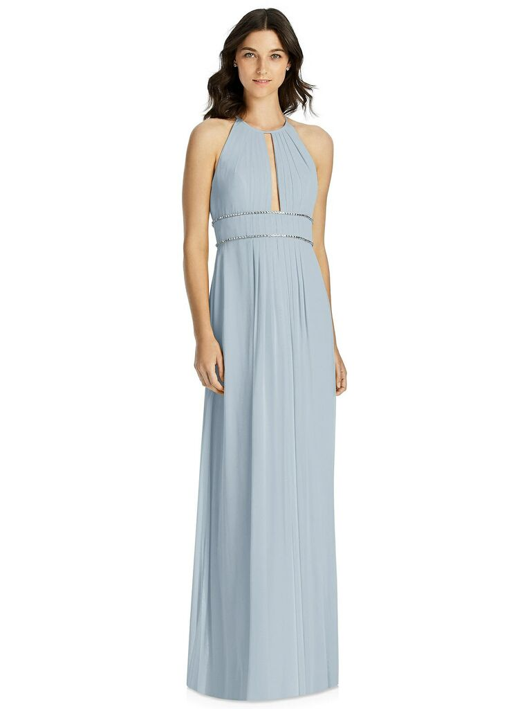 Light blue gray bridesmaid dress