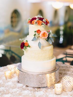 Buttercream Cake with Fresh Flowers and Hobnail Treatment