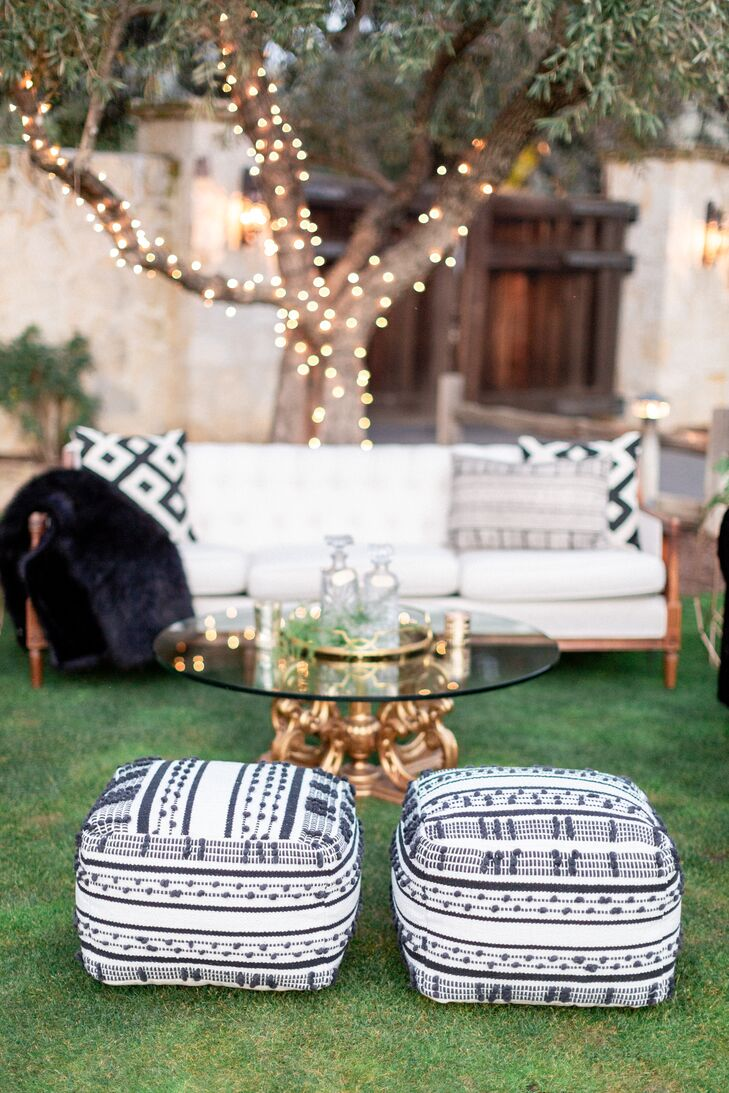 Black and White Lounge Furniture at Outdoor Reception