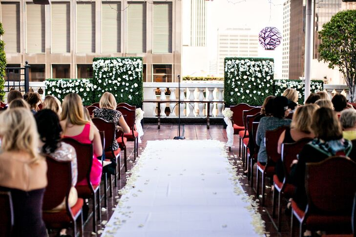 Rooftop Ceremony With White-Petal-Strewn Runner