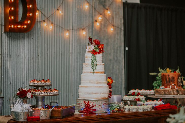 White Frosted Naked Cake with Red Floral Topper