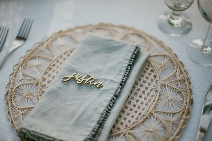 Place Setting with Gold Charger and Personalized Place Cards