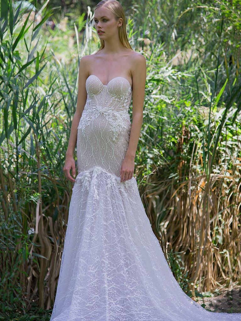 Persy Fall/Winter 2018 strapless beaded trumpet wedding dress with embroidered skirt