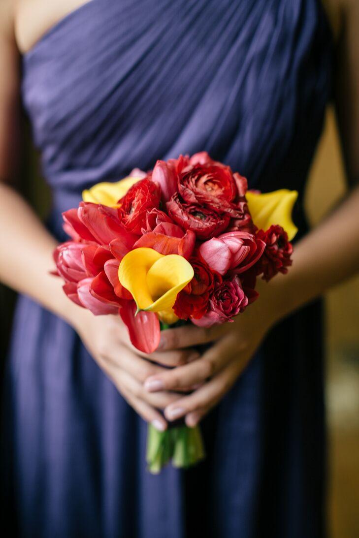 Red Tulip and Ranunculus Bridesmaid Bouquet