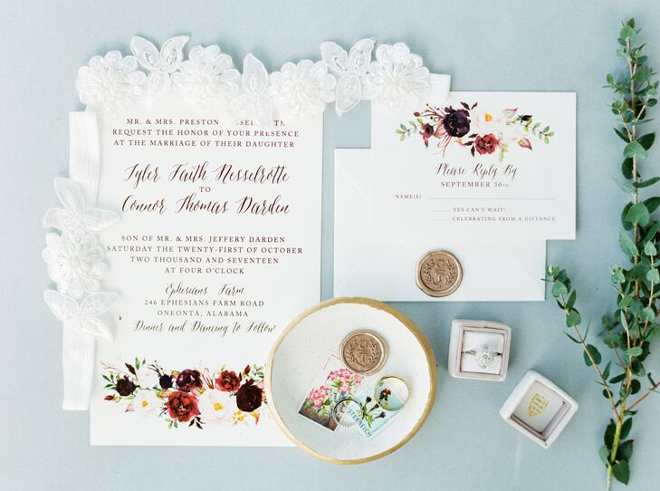 Autumnal Floral Wedding Invitations