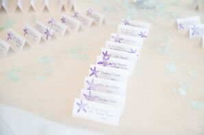 Escort Cards With Purple Starfish Motif