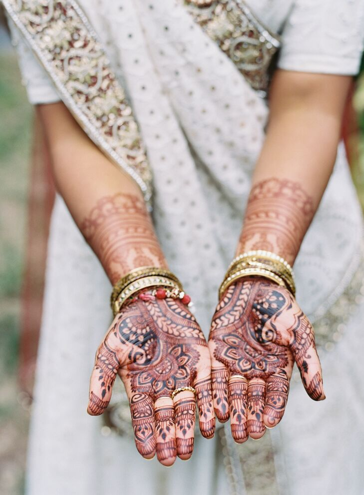 Bride with Traditional Henna for Wedding at The Clifton Inn in Charlottesville, Virginia