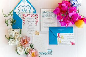 Colorful, Glamorous and Whimsical Stationery Suite with Blue Envelopes