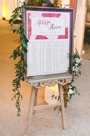 Rustic-Vintage Seating Chart with Watercolor Detail