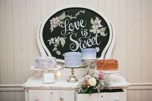 """Love Is Sweet"" Dessert Display on Vintage Furniture"