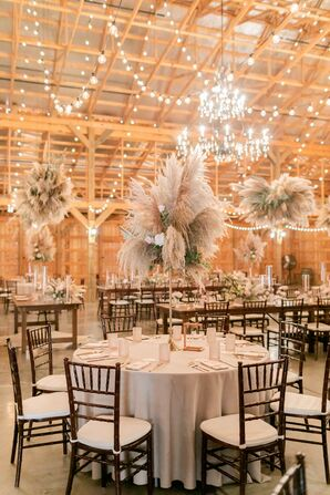 Barn Reception With Tall Pampas Grass Centerpieces