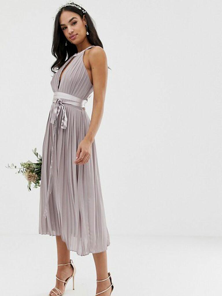 Purple pleated TFNC spring bridesmaid dress