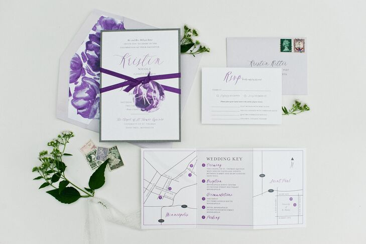 Purple Floral Accented Invitations With Map Inserts
