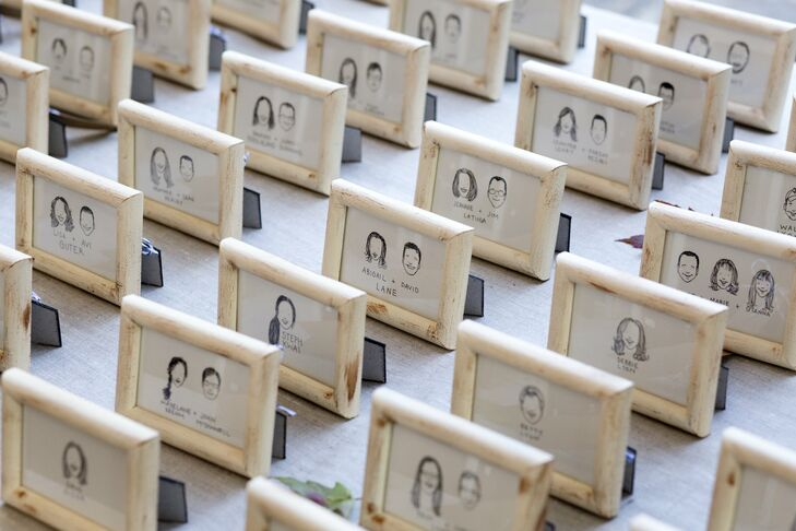 "Erica drew little ink portraits of each guest that served as escort cards and cute favors. ""I wanted to give our guests something personal and fun that they would actually want to keep after the wedding,"" she says. ""Everyone had so much fun picking out their portrait and checking out their friends' as well!"""
