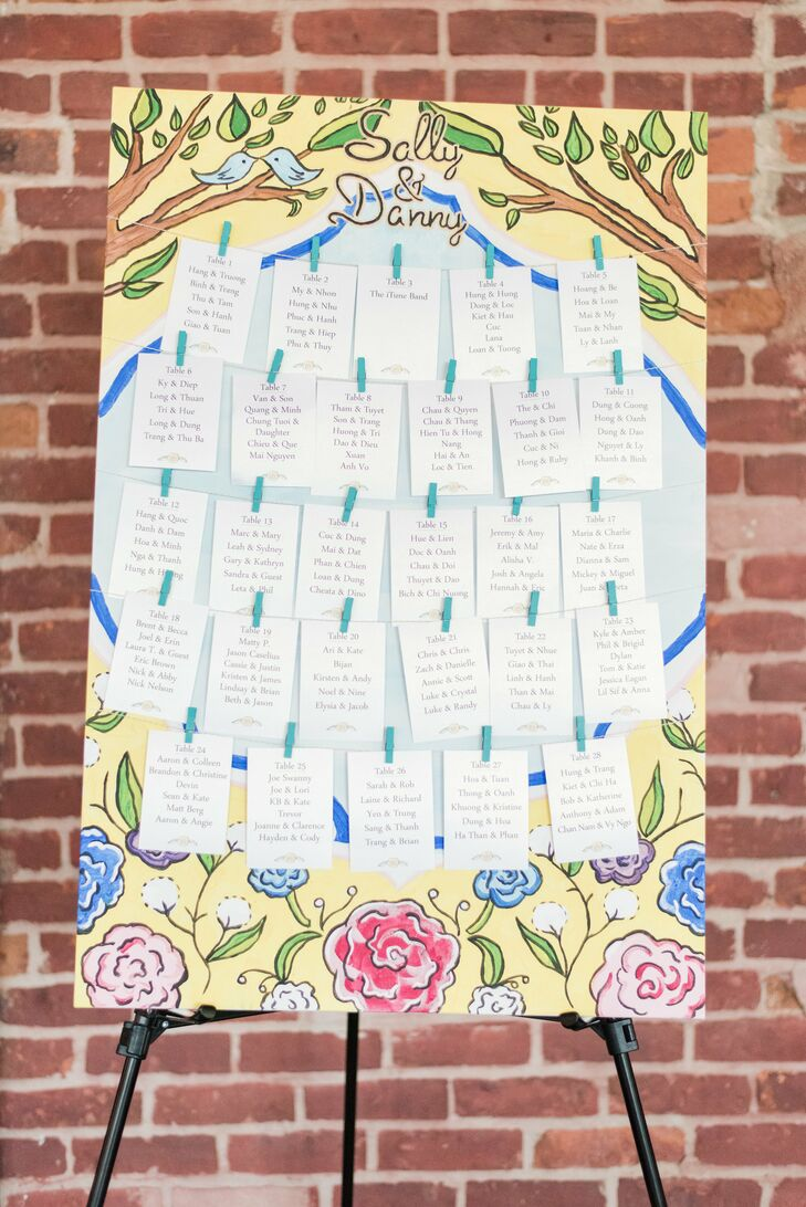 Sally made the seating chart by painting flowers on a large canvas, then attaching rows of table numbers and table assignments with clothes line and mini clothespins.
