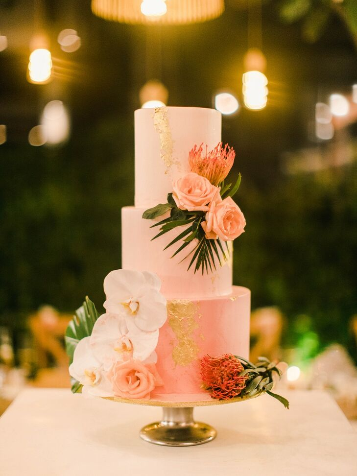Modern Pink Wedding Cake with Tropical Flowers