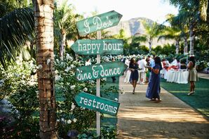 Green and White Wood Wedding Sign