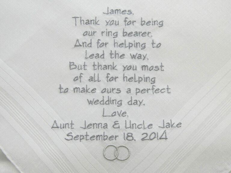 Personalized ring bearer handkerchief