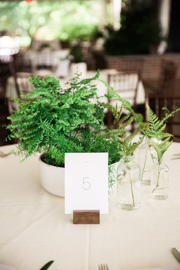 Minimalistic White Table Number in Wood Stand
