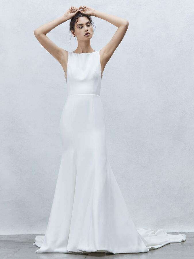 Alyne Collection fit-and-flare wedding dress with bateau neckline